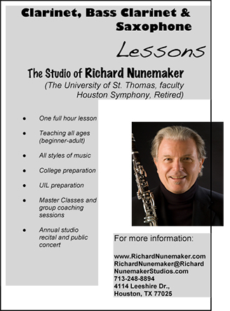 Clarinet, Bass Clarinet & Saxophone Lessons by Richard  Nunemaker, Houston Symphony Retired